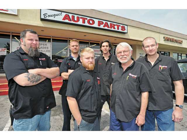 Bouquet Auto Parts staff, from left, Dustin Miller, Ryan Peart, Brett Delia, Kris Kado, Greg Jordan and Owen Powell.