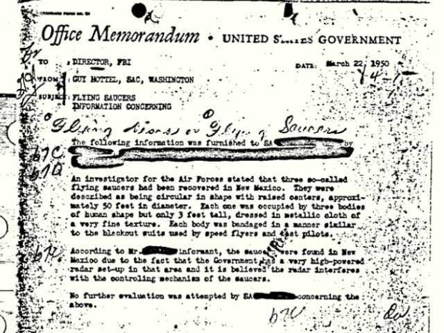 """This 1950 documentshows an FBIreport of """"flying saucers"""" in New Mexico. It hasbecome the FBI's most popular file in the bureau's electronic reading room."""