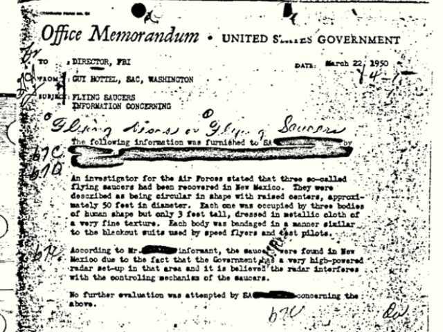 FBI 'flying saucers' NM memo bureau's most viewed