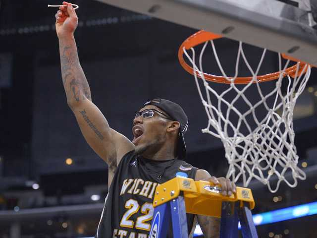 Wichita State's Carl Hall celebrates after his team defeated Ohio State 70-66 in the West Regional final on Saturday in Los Angeles.