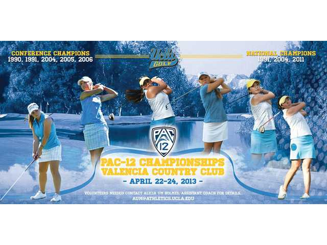 A promotional graphic shows members of the UCLA women's golf team.