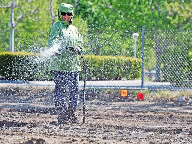 Carol Mireles, president of the Garden Council, irrigates the soil during preparations to expand the Community Garden. Signal photo by Jonathan Pobre
