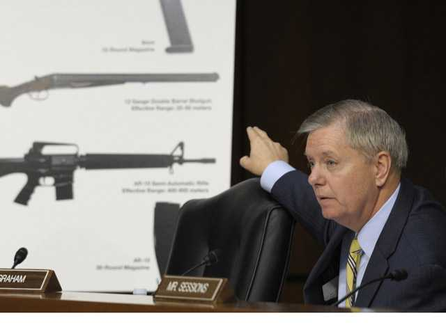 In this Jan. 2013 file photo, Senate Judiciary Committee member Sen. Lindsey Graham, R-S.C., talks about gun legislation during the committee's hearing on Capitol Hill in Washington. Congress returns from a two-week spring recess Monday, with gun control and immigration high on the Senate's agenda.
