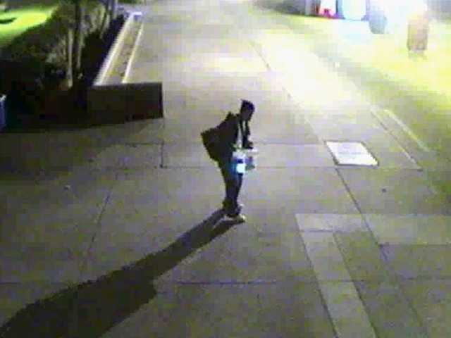 This still from a surveillance camera shows one of the suspects in a burglary last week at Hart High School.