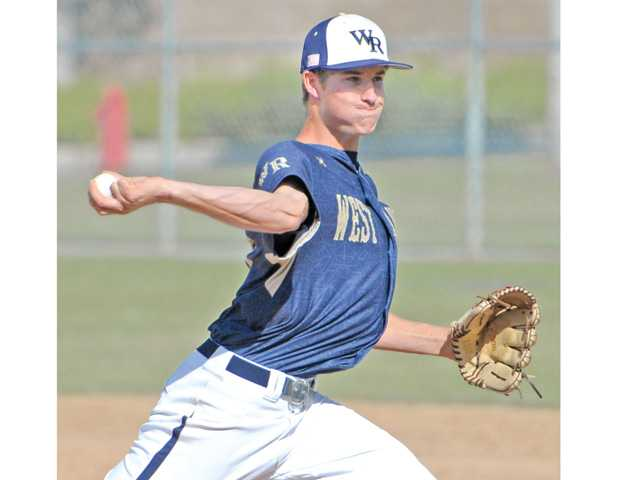West Ranch pitcher Cody Bennett (17) throws against Canyon at West Ranch on Friday.