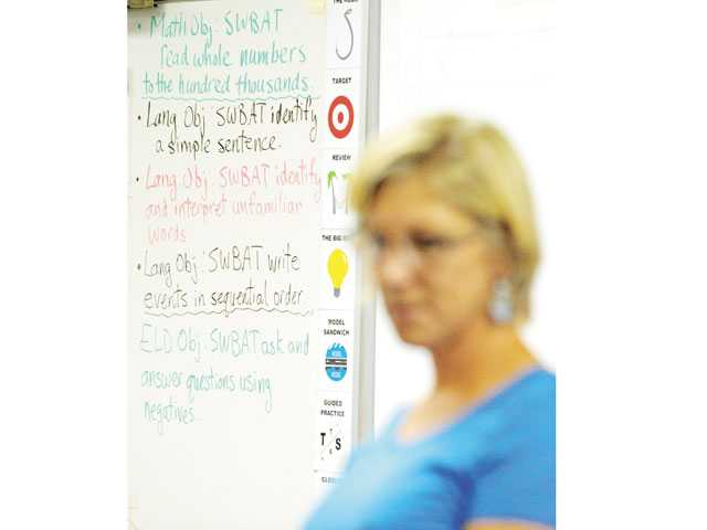 Student objectives are listed on a whiteboard as Krista Maynard leads her fourth-grade class at Rio Vista Elementary School in Canyon Country in August. Signal file photo by Jonathan Pobre