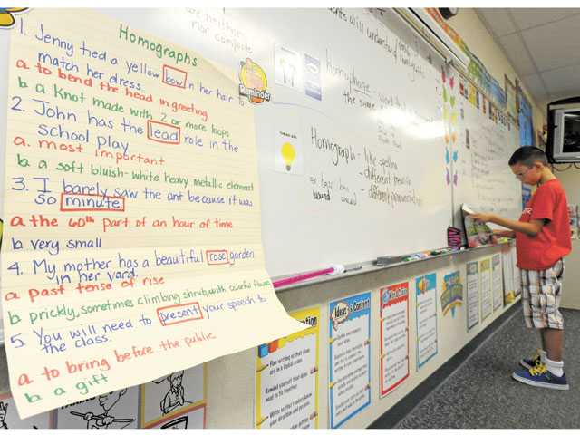 A poster is used as a visual aid as students learn homographs in a fifth-grade classroom at Rio Vista Elementary School in Canyon Country in August. The school won a Title I award this year, state Superintendent of Public Instruction Tom Torlakson said Tuesday.