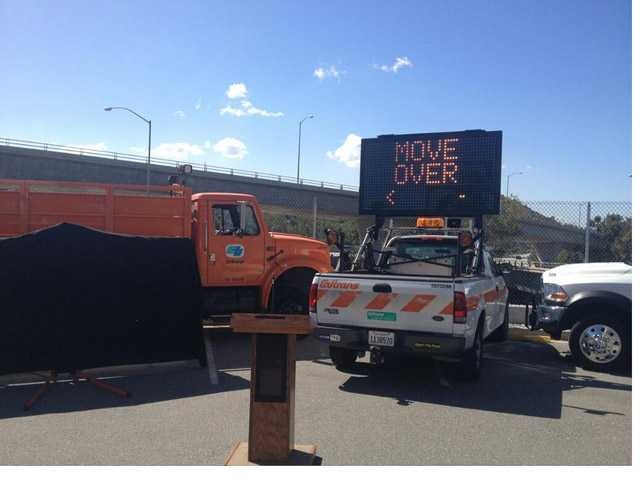 In this photo from Caltrans District 7's twitter, a road sign is lit just before a press event for the 'Move Over' campaign.