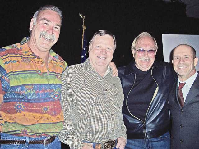 Left to right, Steve Arklin, Bob Kellar, Don Fleming and Glenn Bogna roasted former Santa Clarita City Manager Ken Pulskamp to benefit the Samuel Dixon Family Health Centers. Photo by Michele Buttleman.