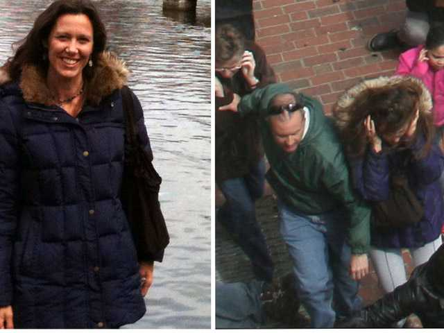 This combination photos shows, left, Amy Berti, in a photo taken by her husband, Joe Bertie in Boston, on Sunday and right, an Associated Press file photo that shows Amy Berti, center, in the same coat, running from the first explosion at the finish line of the Boston Marathon on Monday.