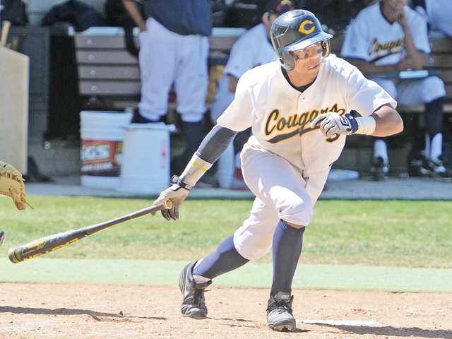 COC's Kamran Young (9) hits an RBI double in the sixth inning against West LA College at COC on Saturday.