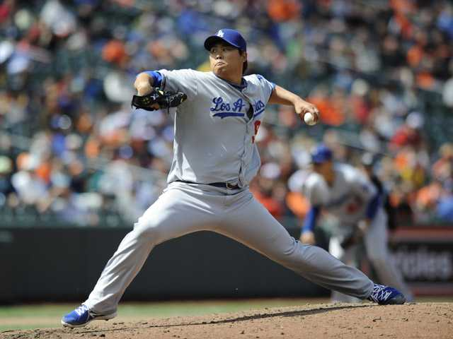 Los Angeles Dodgers pitcher Hyun-Jin Ryu delivers against the Baltimore Orioles in the fifth inning in the first game of a doubleheader Saturday in Baltimore.