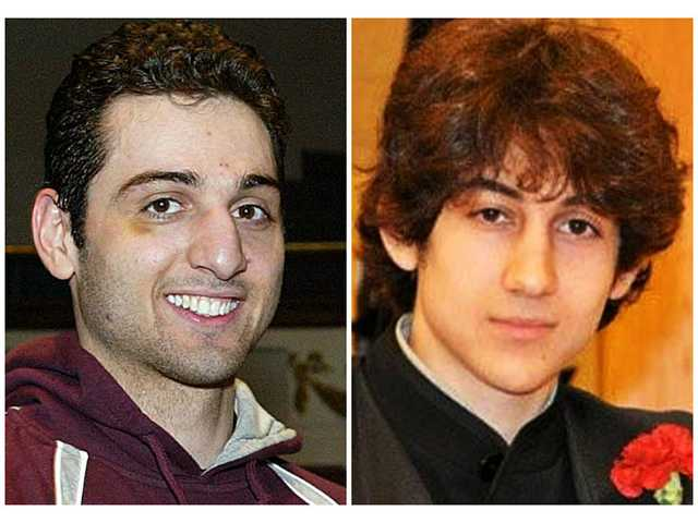 This combination of undated file photos shows Tamerlan Tsarnaev, 26, left, and Dzhokhar Tsarnaev, 19. The FBI says the two brothers are the suspects in the Boston Marathon bombing, and are also responsible for killing an MIT police officer, critically injuring a transit officer in a firefight and throwing explosive devices at police during a getaway attempt in a long night of violence that left Tamerlan dead and Dzhokhar captured, late Friday.