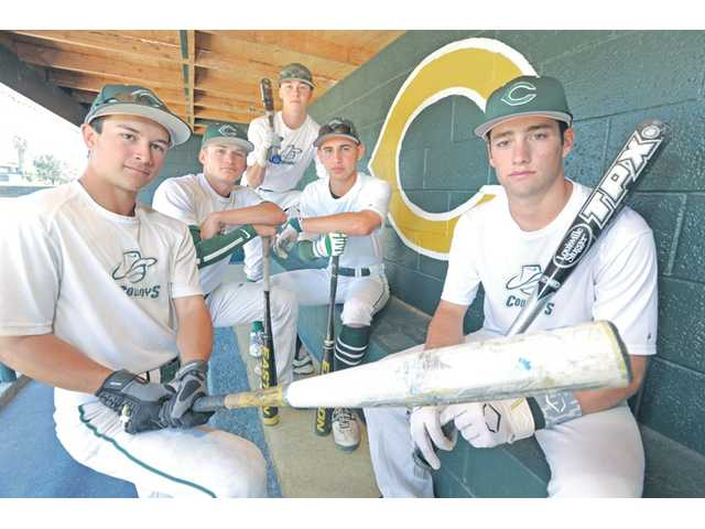 Canyon batters from left, Micah Moyle, Cole Mears, Max Weinstein, Chris Serrano and Chris Jenkins, have helped the team become one of the Foothill League's most productive offensive teams.