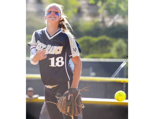 West Ranch pitcher Lexi Sorensen delivers against Valencia on Tuesday at Valencia High School.