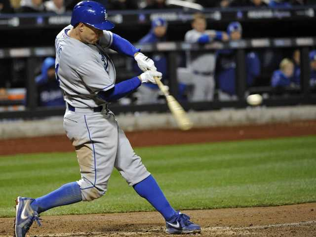 Los Angeles Dodgers' Mark Ellis hits his second home run of the baseball game, a three-run home run off of New York Mets relief pitcher Brandon Lyon, in the seventh inning at Citi Field, Tuesday in New York.
