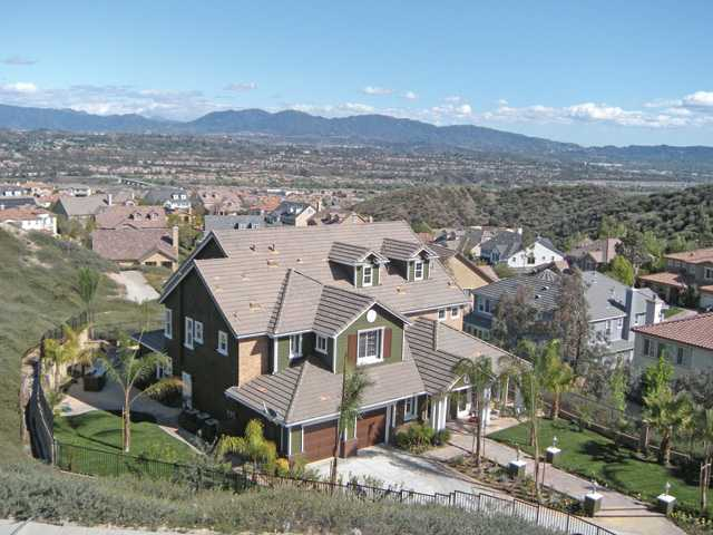 This file photo overlooks a neighborhood in Santa Clarita.Home sales have increased 102 percent from the record low of 99 transactions recorded in January 2008, experts report.
