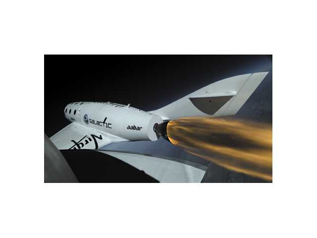 A video frame shot taken from the SpaceShipTwo boom camera.