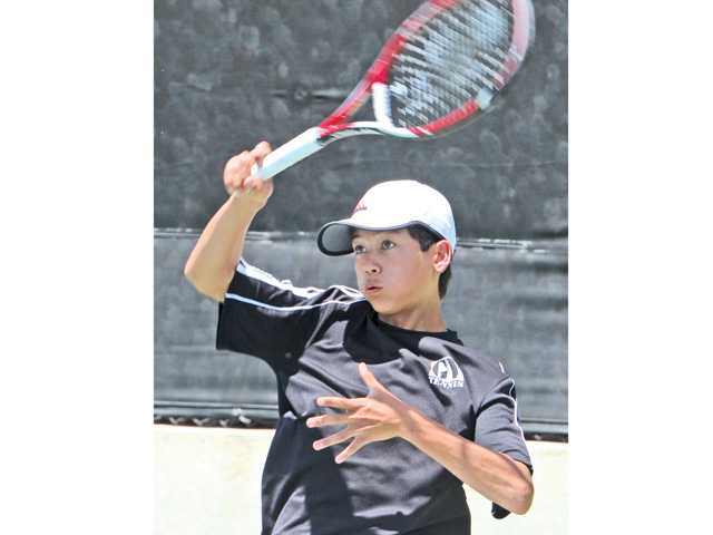 Golden Valley's Brandon Yu competes in the Foothill League prelims on Wednesday at The Paseo Club. Photo by Dan Watson.