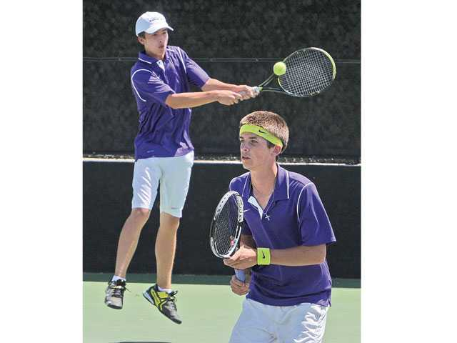 Valencia doubles team Sam Rebele, left and David Myers at Paseo Club on Thursday.