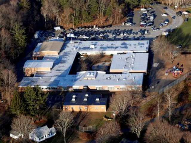 Sandy Hook Elementary School in Newtown, Conn., where a gunman shot 27 people dead, including 20 children. The Sandy Hook School Building Task Force met Friday night, May 3, 2013, to debate whether to renovate or rebuild on the existing school site, or to construct a new school building on nearby property.