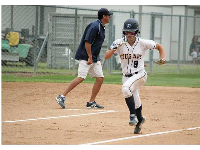 College of the Canyons' Savannah Gutierrez heads to home plate during a playoff game against Saddleback College on Sunday at COC.