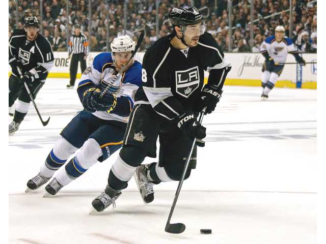 Los Angeles Kings defenseman Drew Doughty (8) moves the puck up the ice during Monday's game in Los Angeles.
