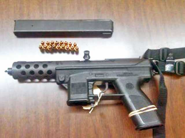 The weapon shown above is a Tec-9, the same kind of gun found in a vehicle driven by two women identified as felons.