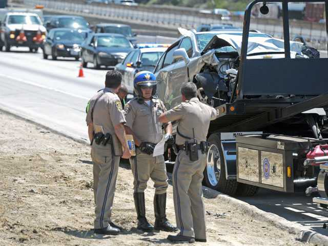 Traffic lanes are reopened on the northbound Interstate 5 in Newhall after being closed for about an hour following a nine-vehicle crash. Signal photo by Jonathan Pobre