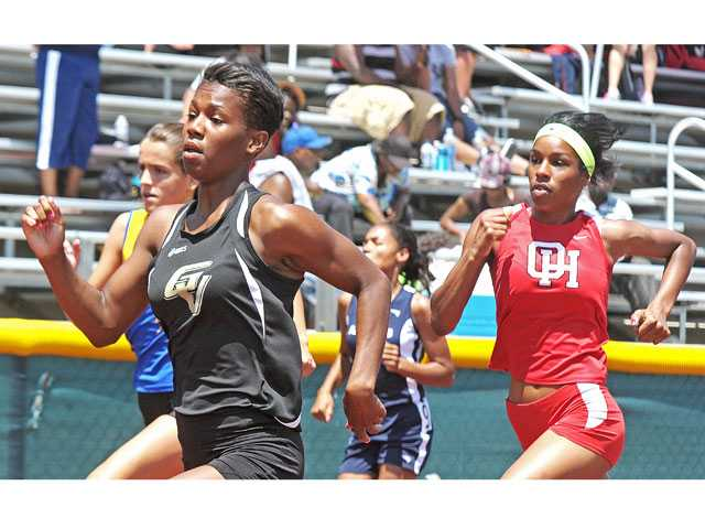 Golden Valley's Imani Dixon, left, competes in the 400-meter race at the CIF-Southern Section Division II prelims on Saturday at Moorpark High School.