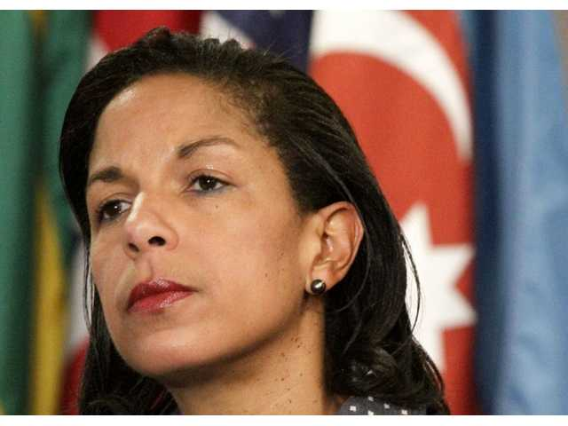 This June 7, 2012 photo shows U.S. Ambassador to the U.N. Susan Rice listening during a news conference at the U.N. Senior State Department officials expressed concerns that Congress might criticize the Obama administration for ignoring warnings of a growing threat in the deadly attack on the U.S. diplomatic mission in Benghazi, Libya.