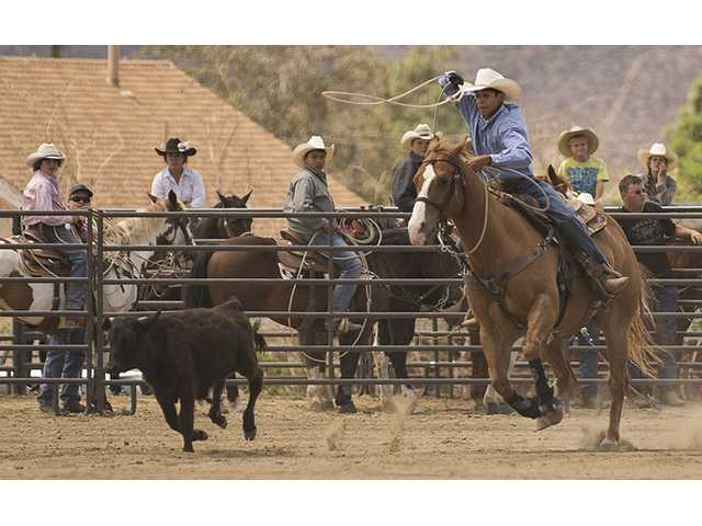Rafael Casian takes off from the start to catch up and rope acalf as the other contestants watch in the junior boys breakaway event during Sunday's junior rodeo in Agua Dulce. Photo by Steve Palma
