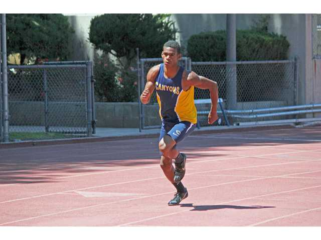 College of the Canyons freshman Anthony Fowler broke a school record in the 400-meter dash on Saturday. Photo by Philip Baguiao.