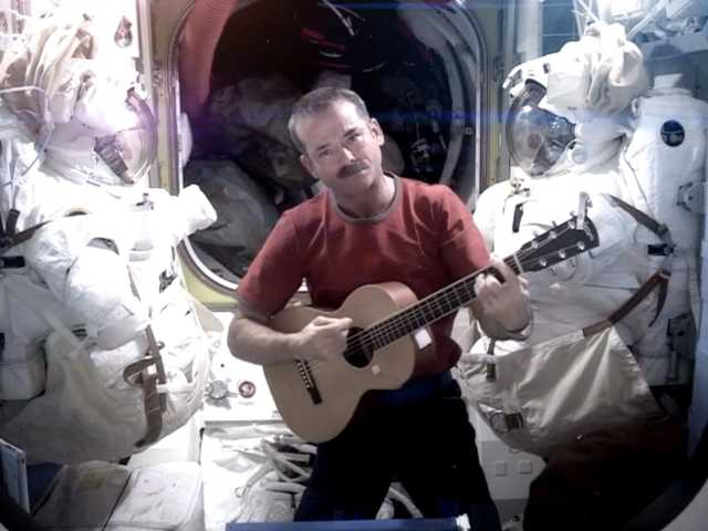 NASA astronaut Chris Hadfield recording the first music video from space Sunday May 12, 2013. The song was his cover version of David Bowie's Space Oddity.