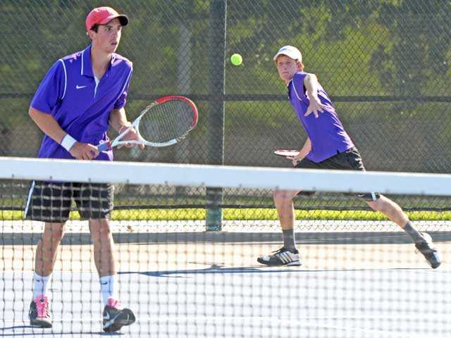 Valencia doubles players Chris Pope, left, and Cameron Braun compete against Beverly Hills on Monday at Valencia High.