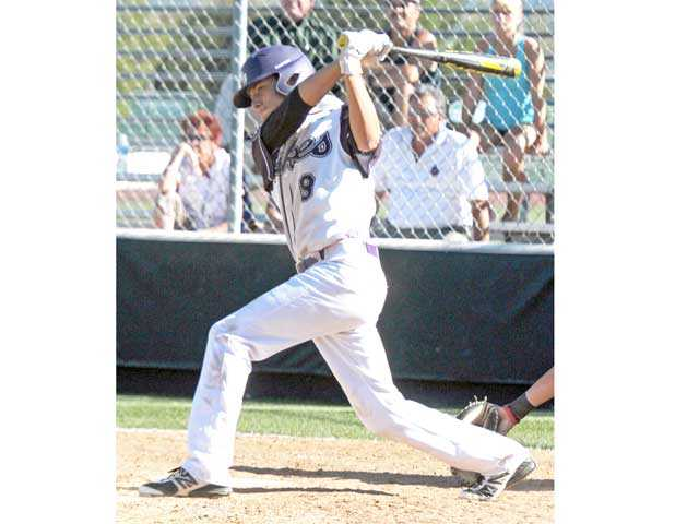 Valencia's Kyle Sanchez hits a two-RBI double in the fifth inning against Westlake on Tuesday at Valencia High School.