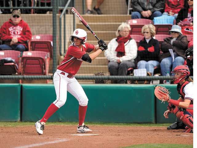 Hart graduate and University of Oklahoma senior catcher Jessica Shults is one of nine Foothill League alumnae playing in the NCAA Division I softball tournament. Photo by John Williamson/University of Oklahoma.