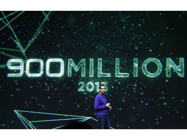 Sundar Pichai, senior vice president, Chrome and Apps at Google, speaks about the 900 million android users at Google I/O 2013 in San Francisco, Wednesday, May 15, 2013.