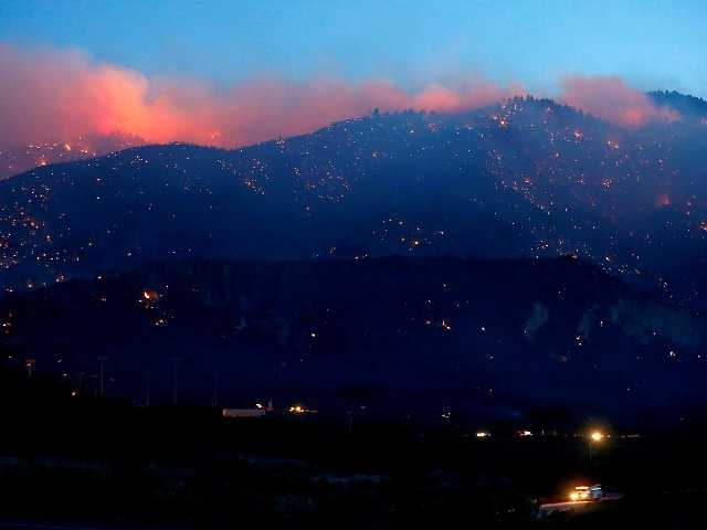 The Grand fire burns into the Los Padres National Forest near Gorman on Wednesday night. Los Angeles Times photo