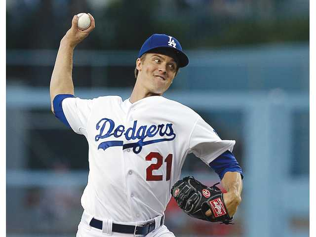 Los Angeles Dodgers starter Zack Greinke pitches to the Washington Nationals in Los Angeles on Wednesday.