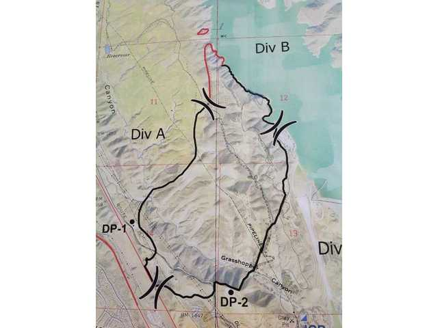 This image, posted on a Los Angeles County Fire Department Twitter account, shows the area that was burned during the Castaic wildfire.