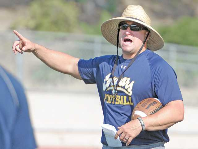 College of the Canyons new head coach Ted Iacenda at practice on Wednesday.