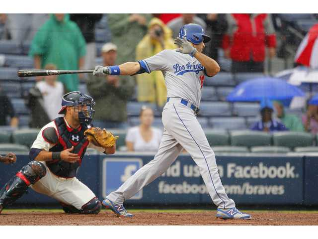 Los Angeles Dodgers right fielder Andre Ethier (16) strikes out to end the game against the Atlanta Braves on Sunday in Atlanta.