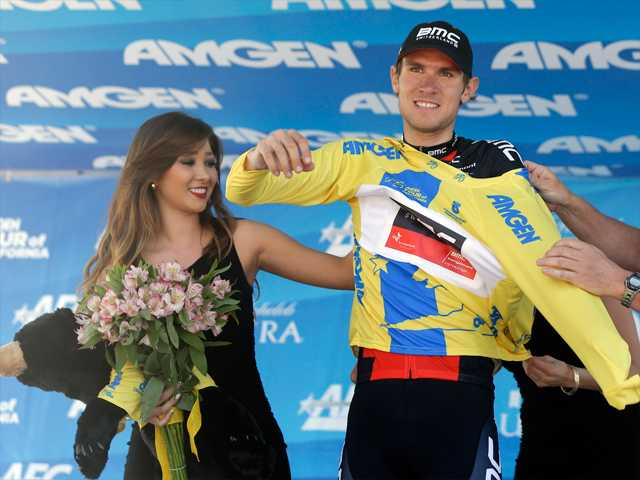 Tejay Van Garderen puts on the yellow jersey after winning the Tour of California cycling race in Santa Rosa on Sunday.