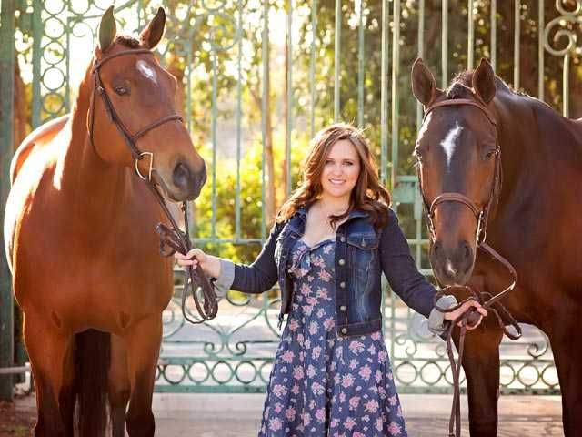 West Ranch High student and 17-year-old Ashlyn Matheus stands with her horses Perfect Summer Day and Einstein, with whom she competes in equestrian competitions. Next year, Matheus will compete at Texas Christian University. Photo courtesy of Maxine Evans Photography