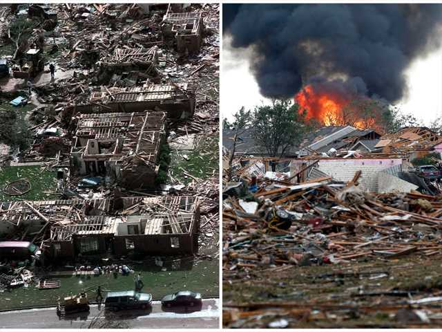 This combination of Associated Press photos shows left, a neighborhood in Moore, Okla., in ruins on Tuesday, May 4, 1999, after a tornado flattened many houses and buildings in central Oklahoma, and right, flattened houses in Moore on Monday, May 20, 2013.