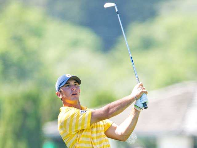 University of California, Berkeley senior Max Homa, a Valencia High graduate, takes a shot during the Western Intercollegiate tournament in Santa Cruz on April 14. Photo courtesy of Casey Valentine/GoldenBearSports.com