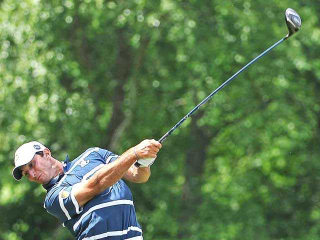 Valencia graduate Max Homa shoots during the NCAA golf championshipsat the Capital City Club Crabapple Course in Milton, Ga.