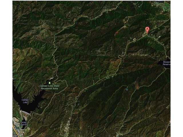 This map shows the location of Green Valley, which is being evacuated as a result of the Powerhouse Fire.