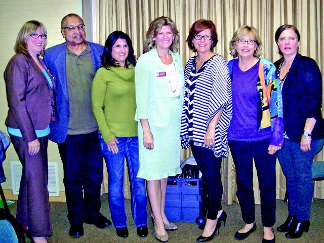 Representatives from Santa Clarita Valley nonprofit agencies that will receive Zonta Club of SCV Community Service grants pose with Zonta Community Service Grant Chairwoman Sharon Rodriguez.